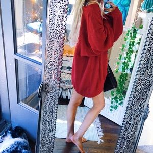 Candy Apple Red Chunky Oversized Sweater